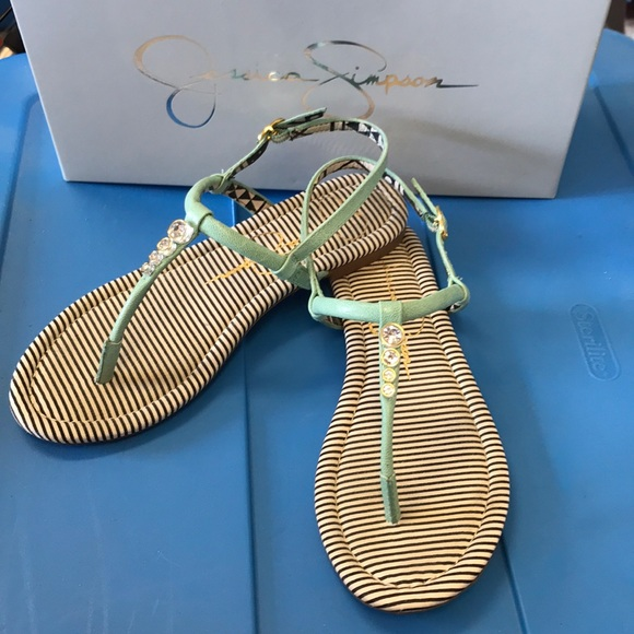 61df9e2ff Jessica Simpson Shoes - Jessica Simpson jeweled green sandals size 5.5M